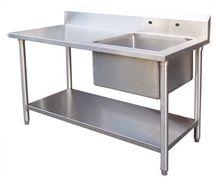 Meja sink stainless 1 mangkuk cuci dengan rak bawah